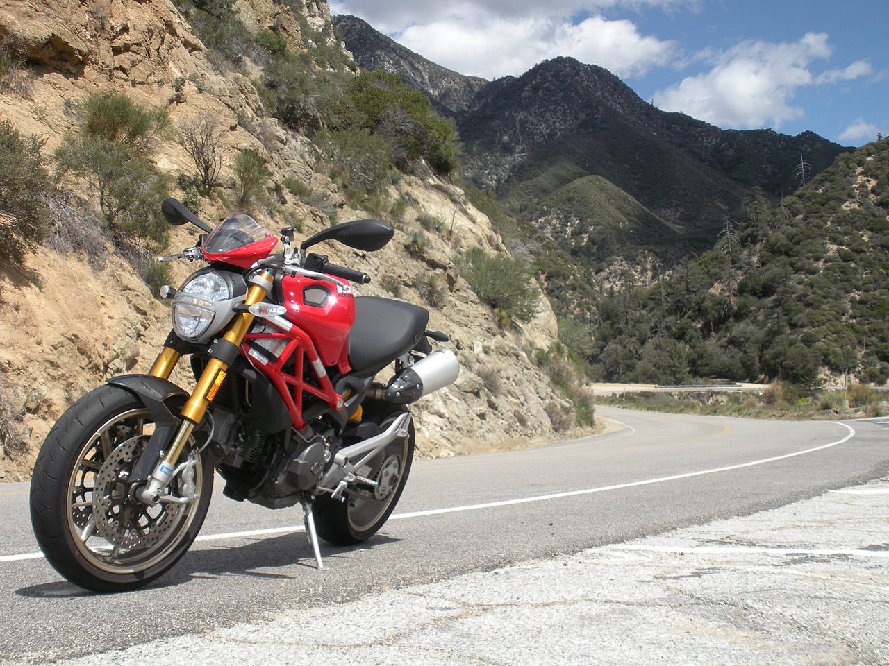 Ducati Monster on the Road Wallpaper