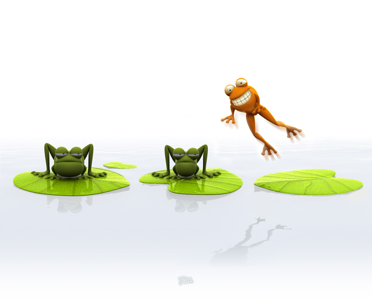Funny Three Frog Wallpaper
