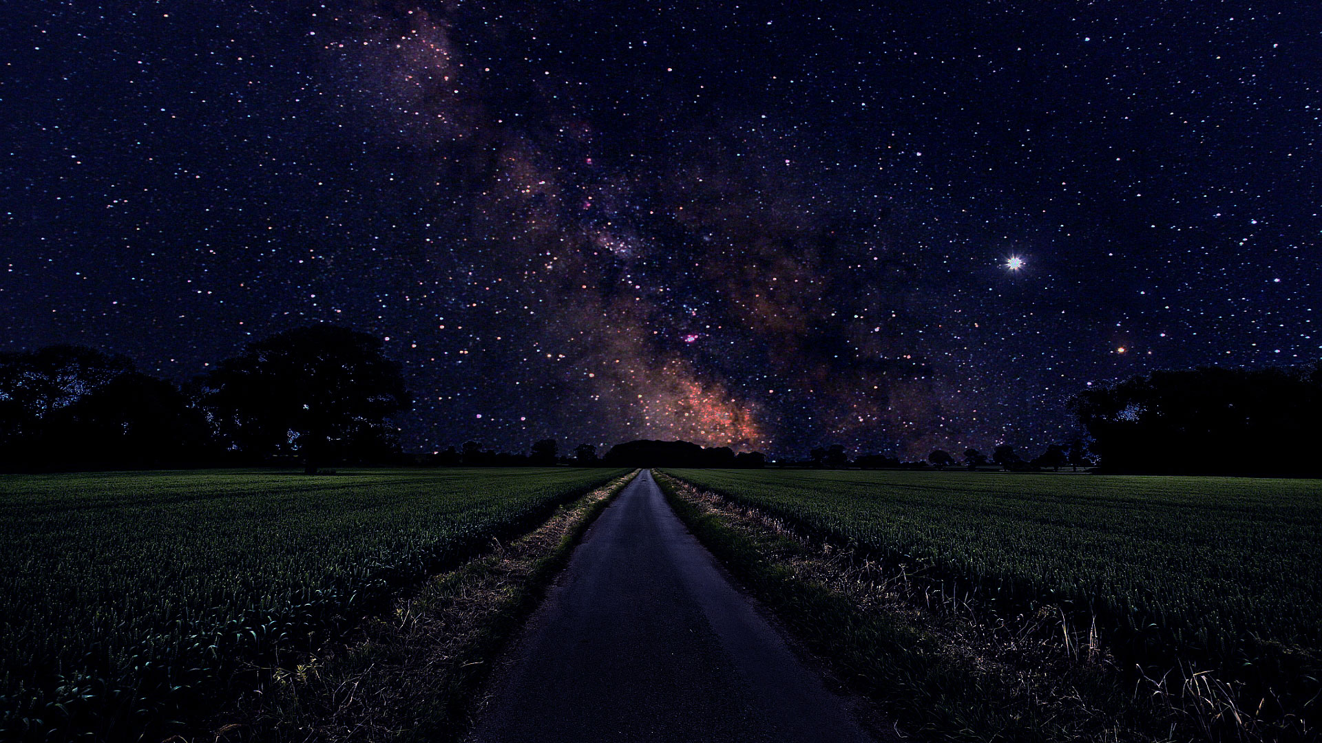 Milky Way from the Road Wallpaper