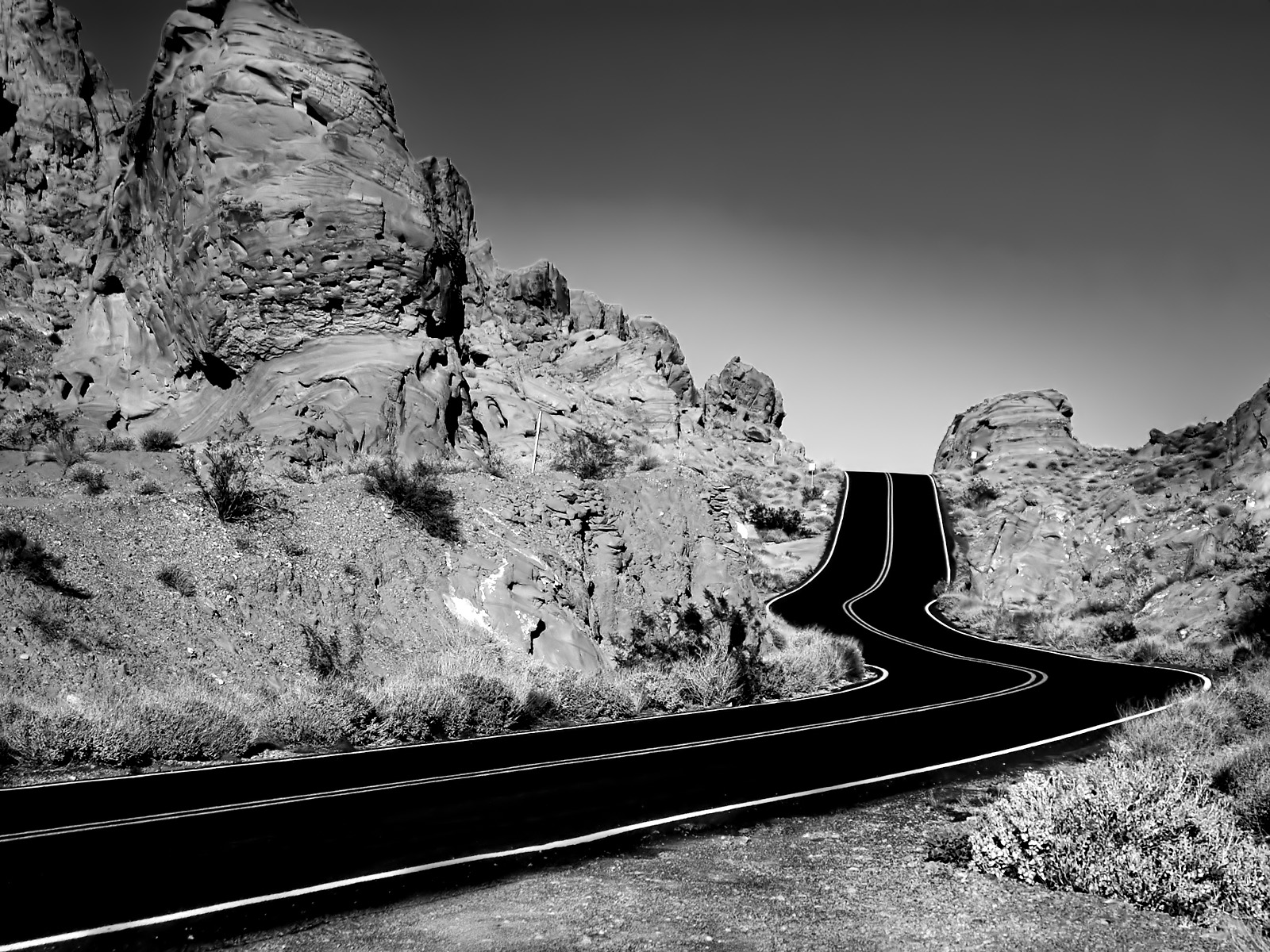 Black And White Road Wallpaper Free