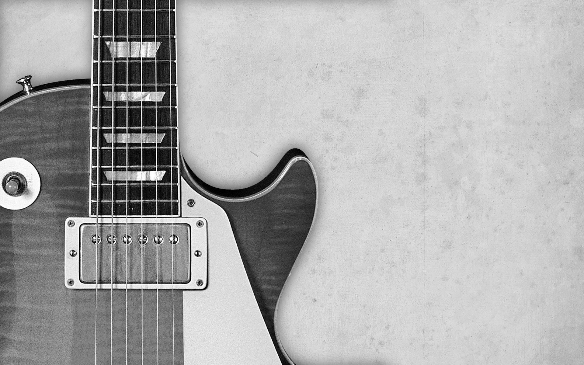 Black White Guitar Wallpaper HD