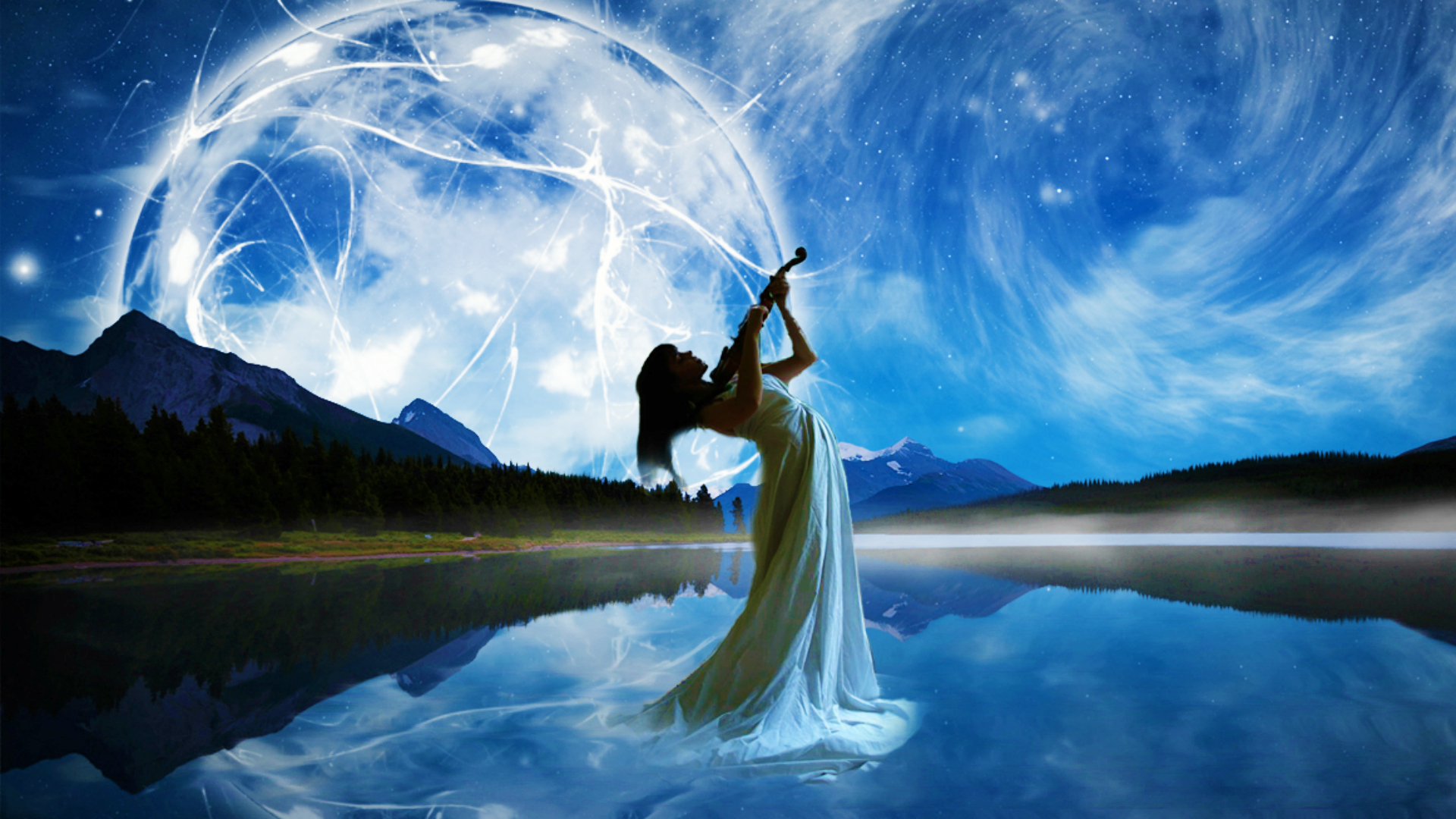 Fantasy Women Violin Wallpaper