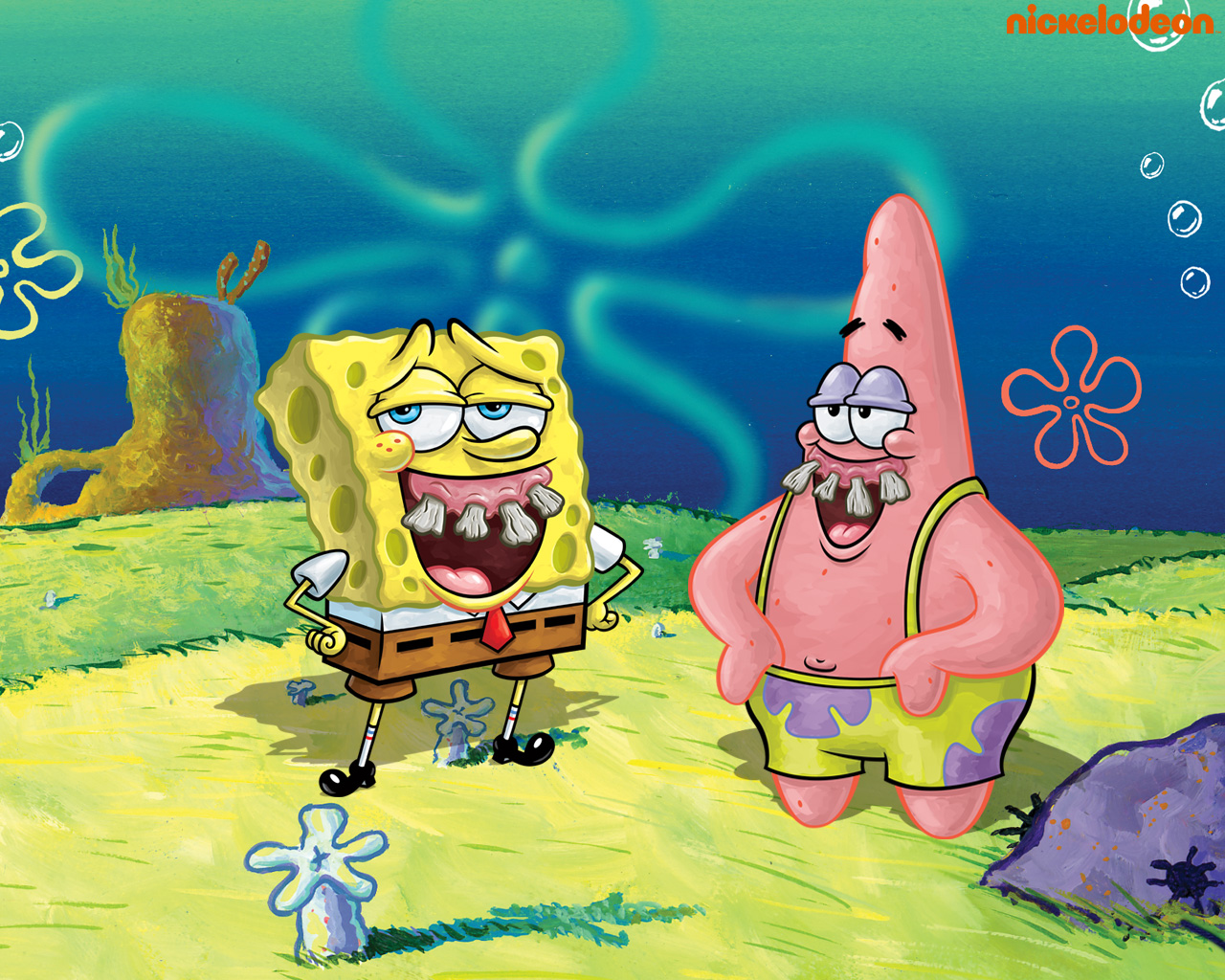 Funny Spongebob and Patrick Wallpaper