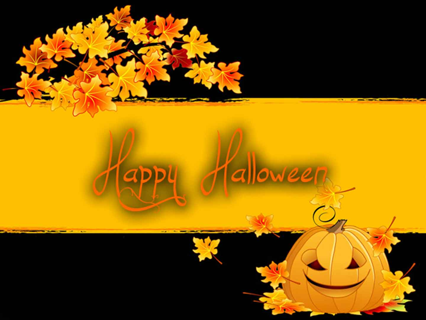 Happy Halloween Black And Yellow Wallpaper