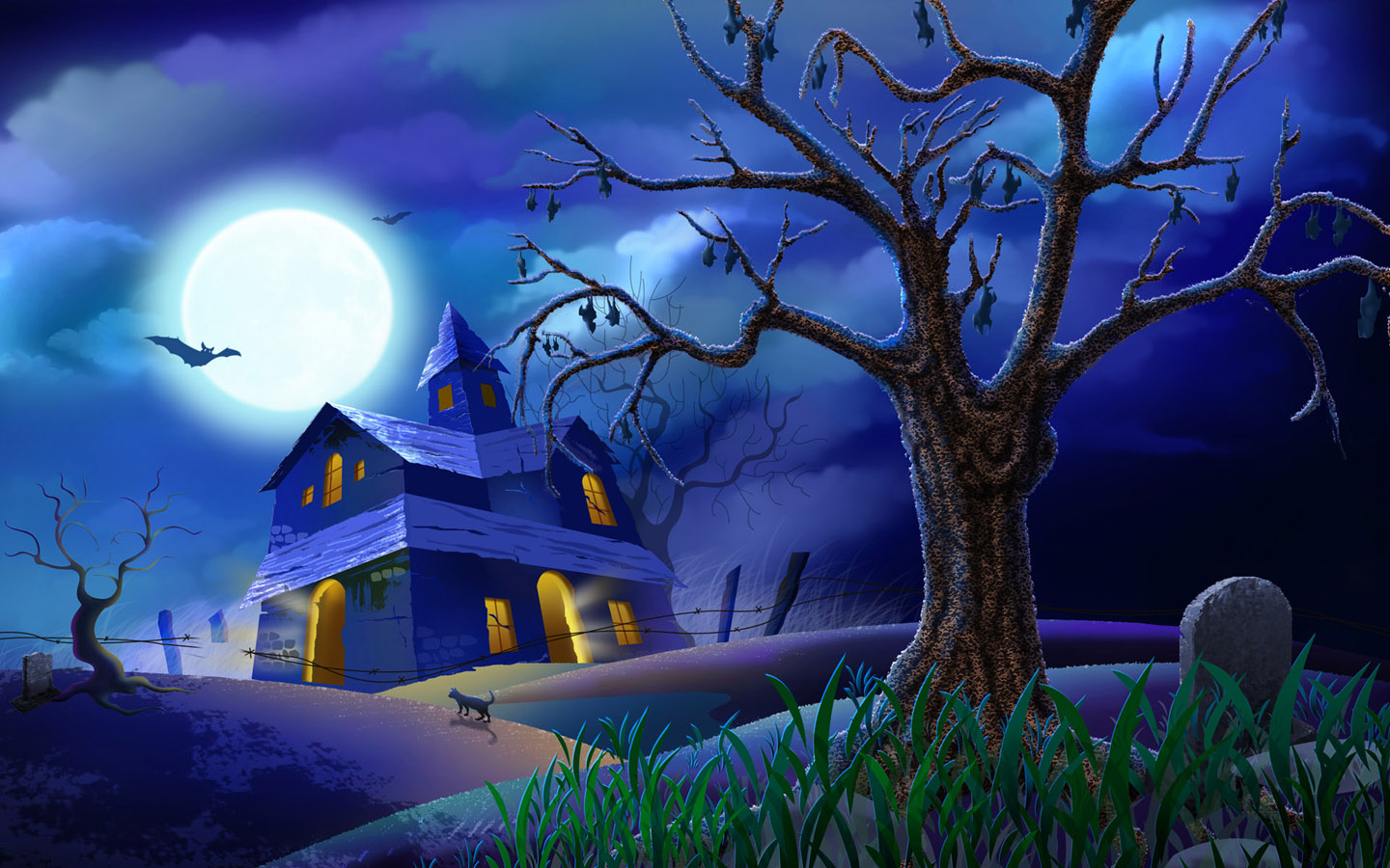 Night Halloween Wallpaper Wide