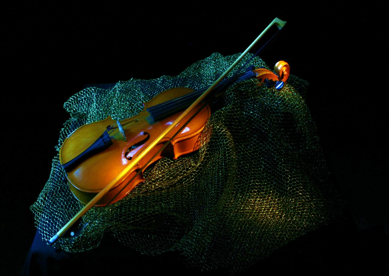 Violin On Blue Net Wallpaper