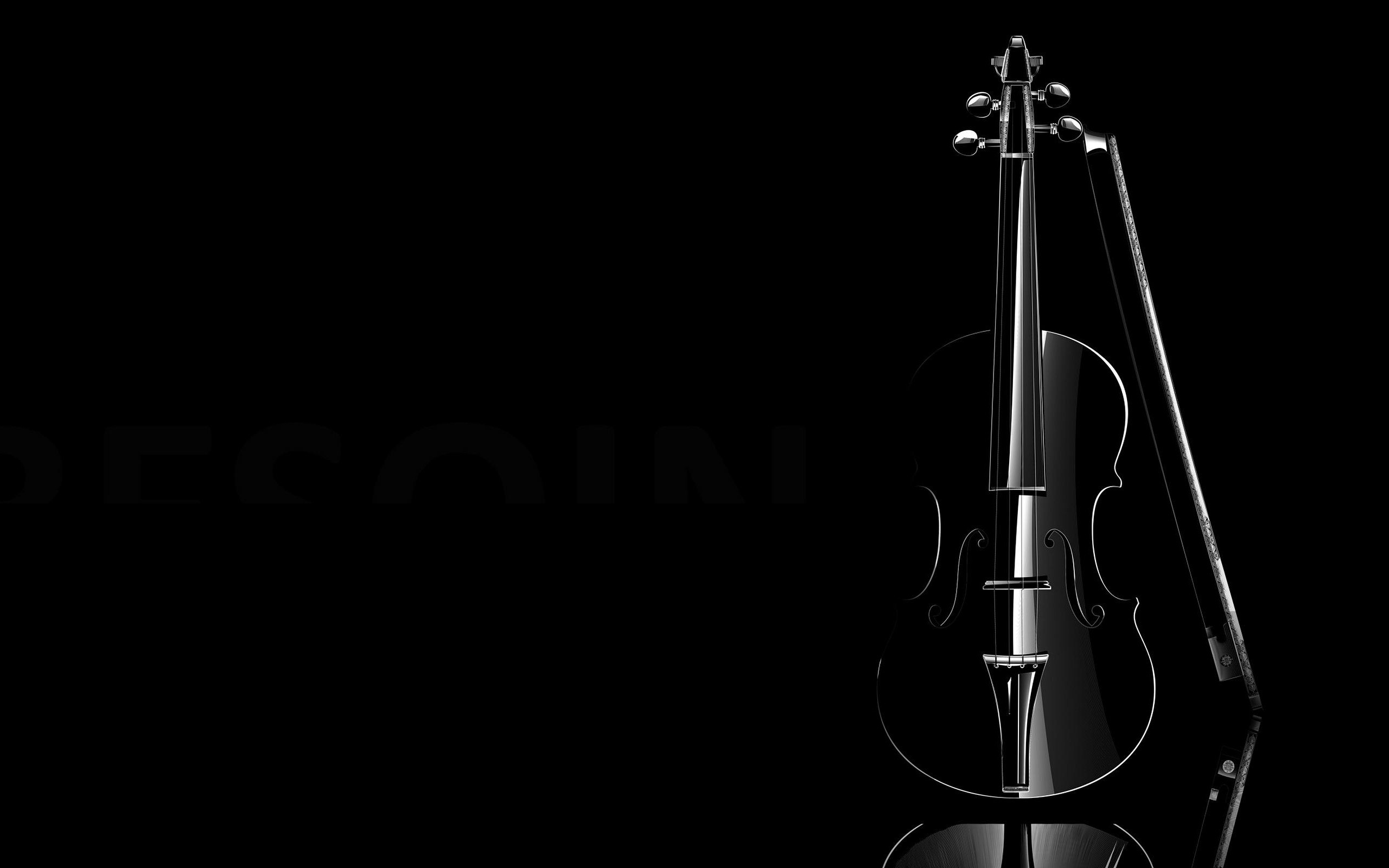 Violins Black Image Wallpaper