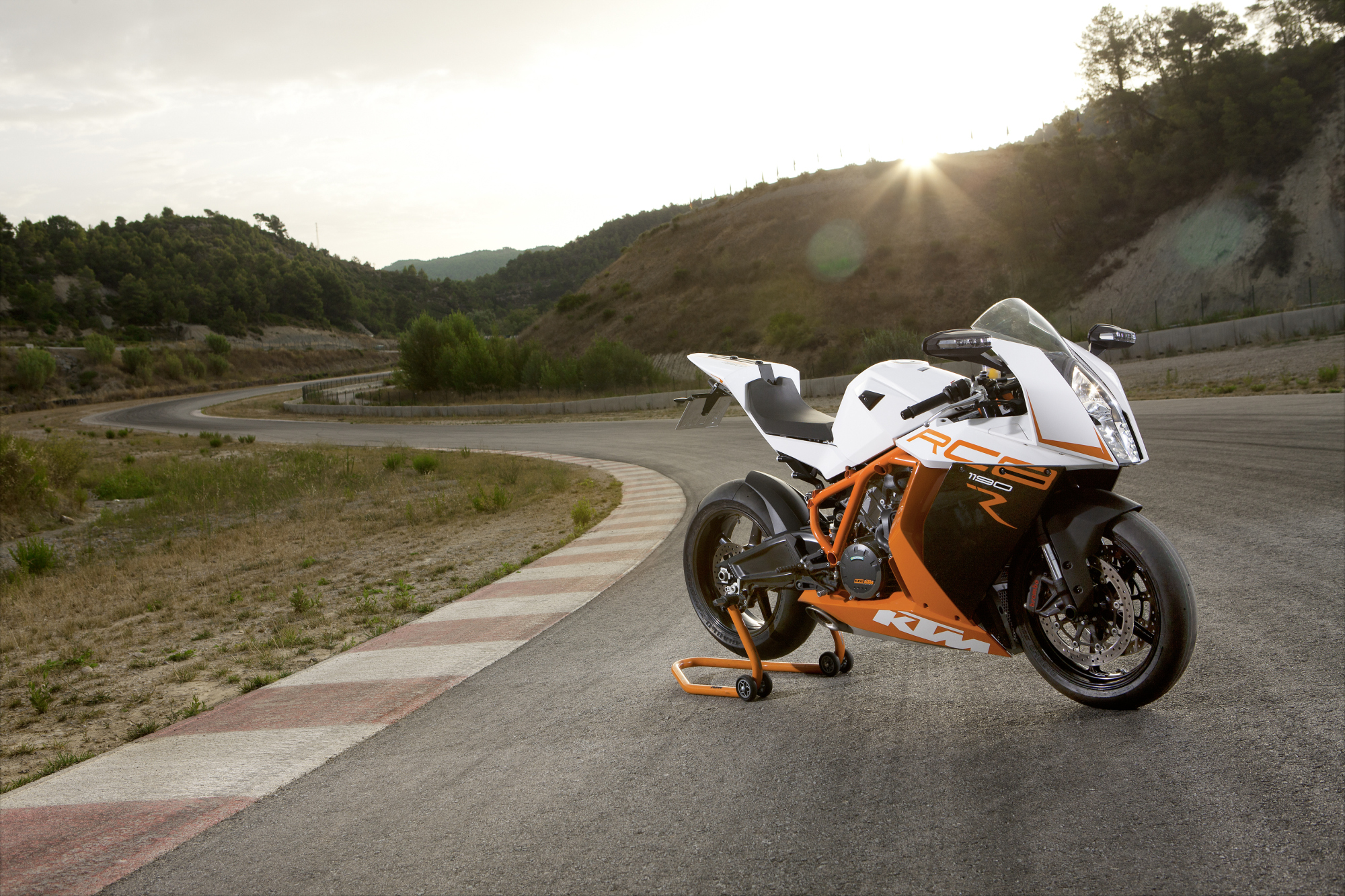 White KTM RC 8 on Road Wallpaper