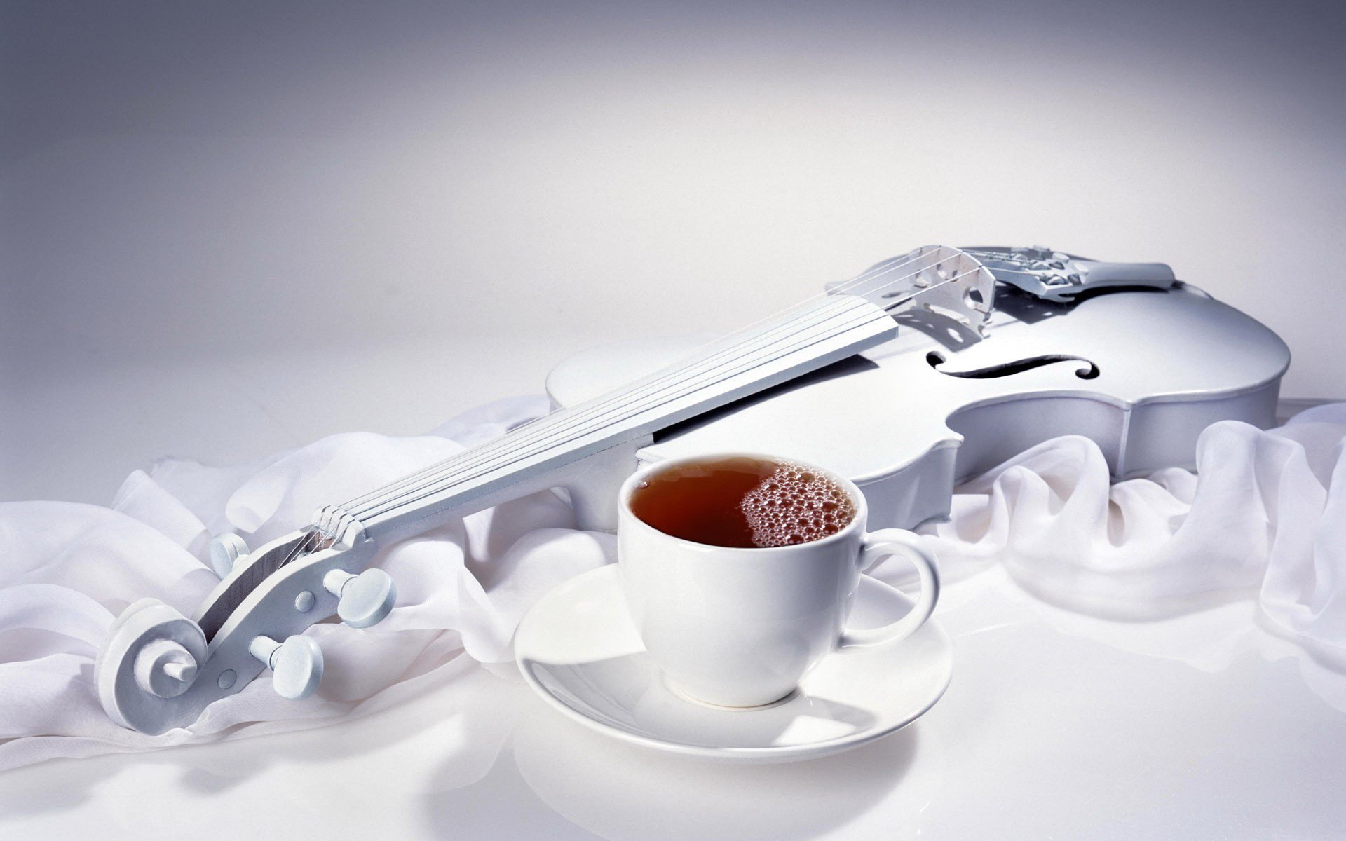 White Violin And Coffee Wallpaper HD