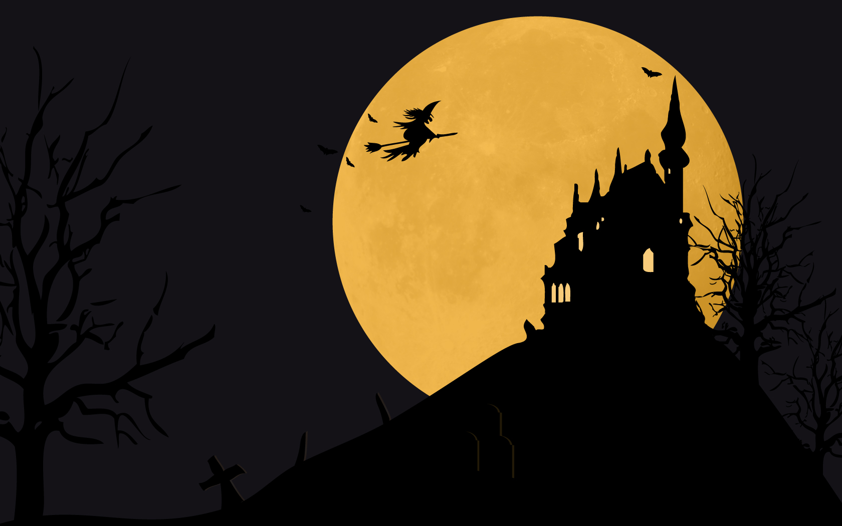 Witch and Moon Halloween Wallpaper HD