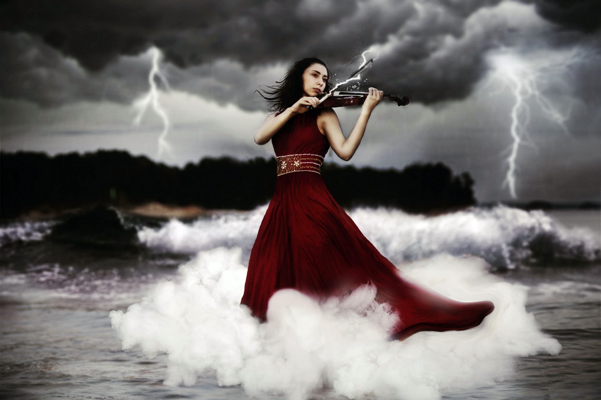Women Playing Music Violin Wallpaper