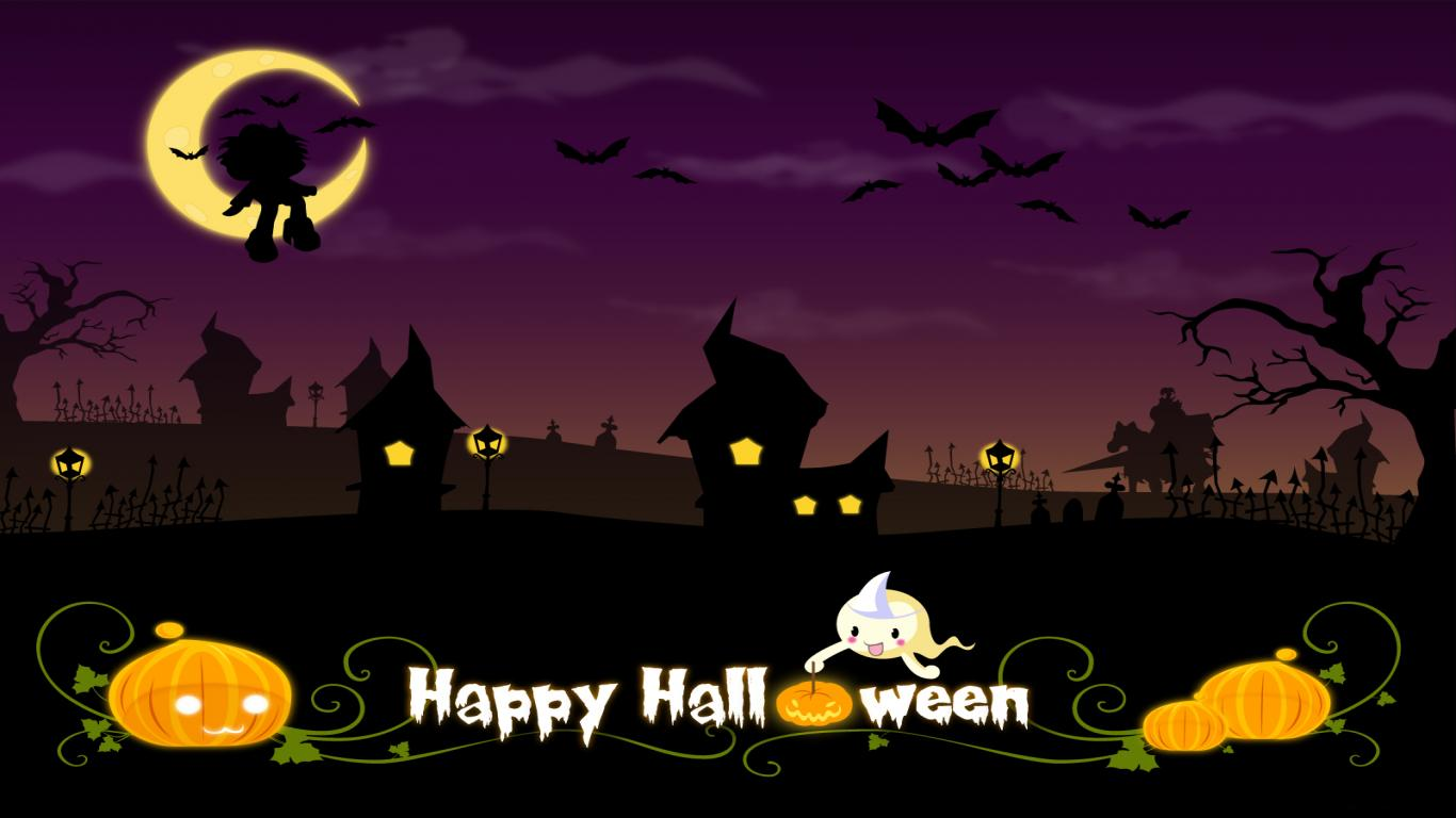 Cute Halloween Night Widescreen Wallpaper