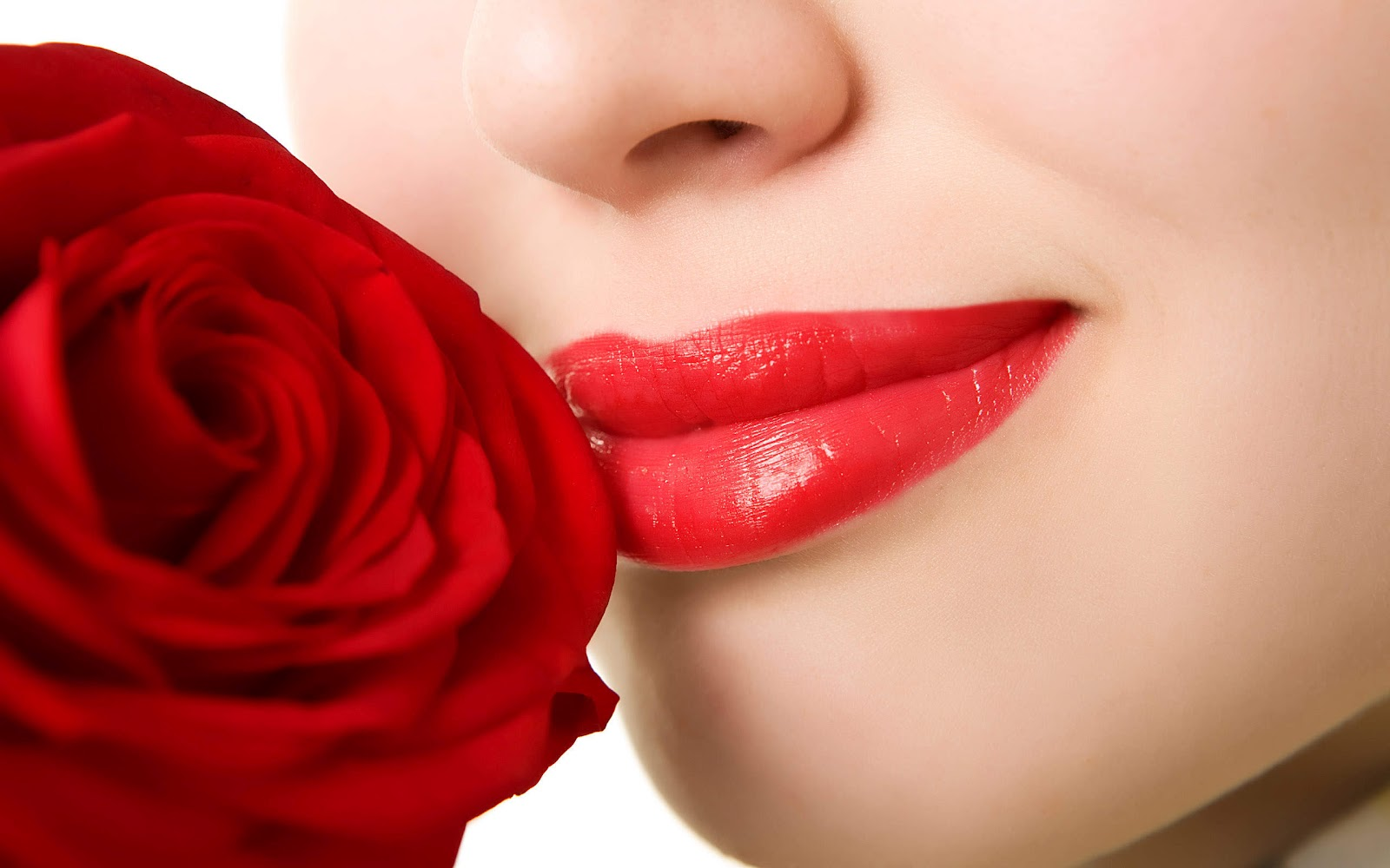 Red Lips With Red Rose Wallpaper