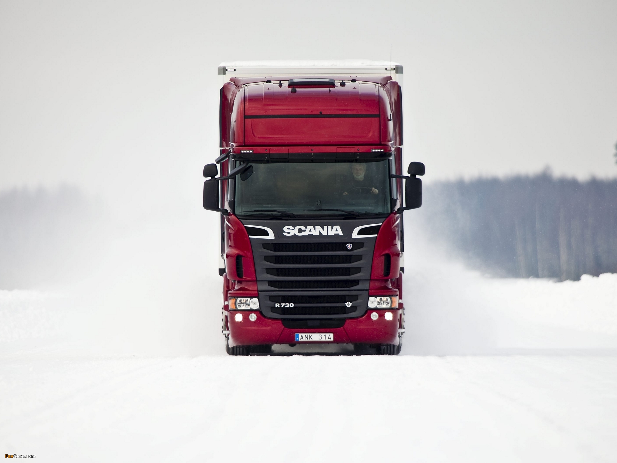 Red Scania Truck On Ice Road Wallpaper