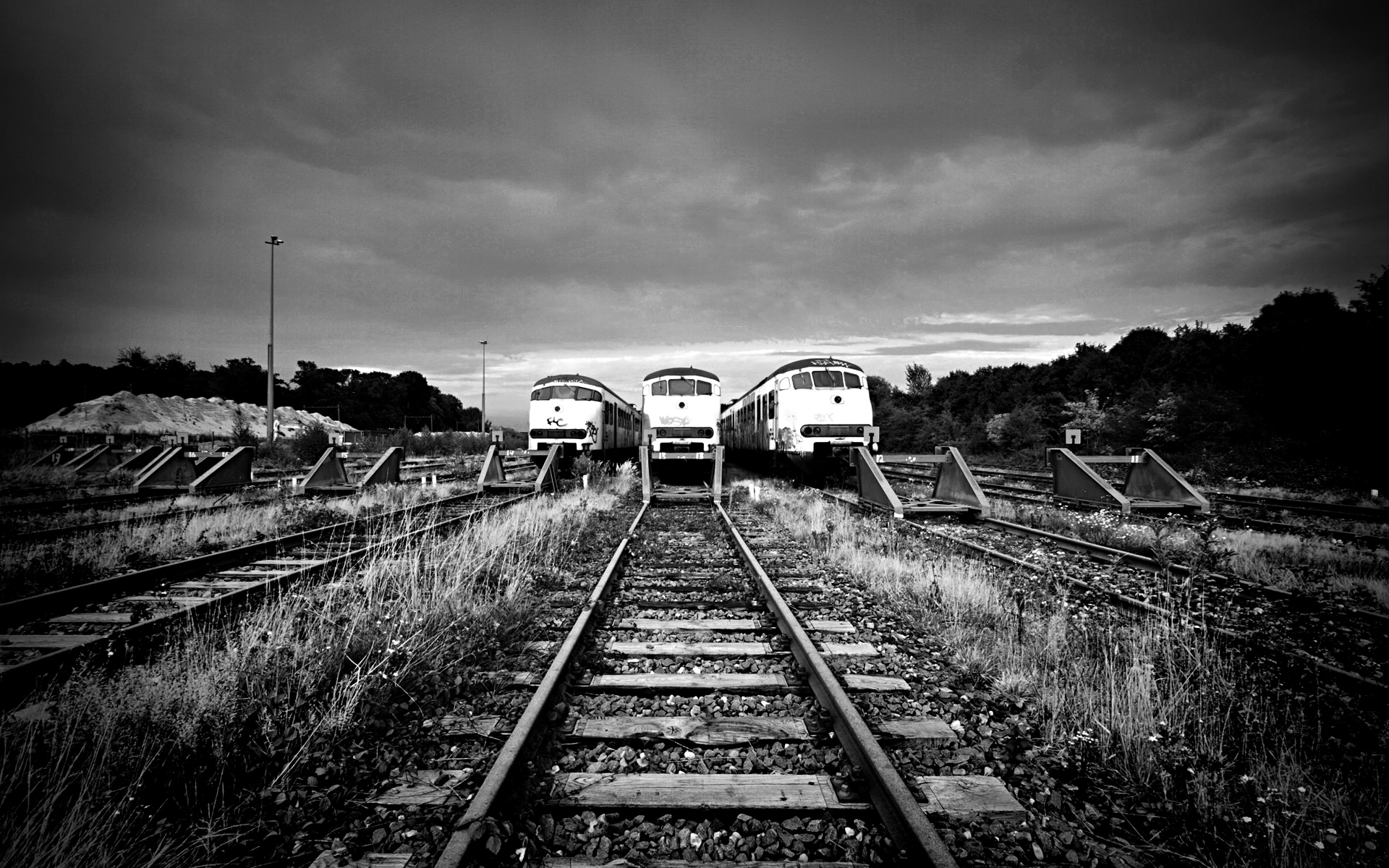 Three Old Train Wallpaper HD