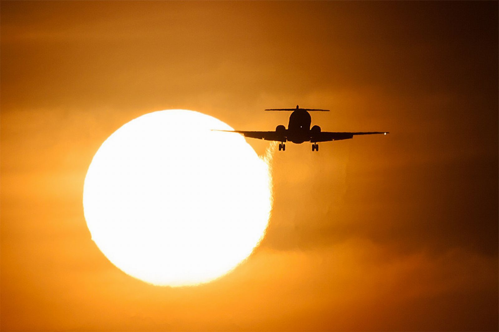 Sunset with Airplane Wallpaper PC Wallpaper