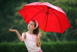 Red Umbrella, Cute Girl Baby, Image